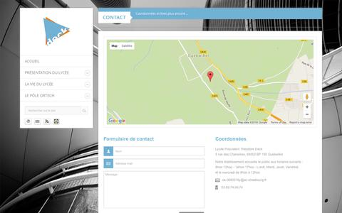 Screenshot of Contact Page lyceedeck.fr - Contact - Lycée Polyvalent Théodore Deck - captured June 2, 2016