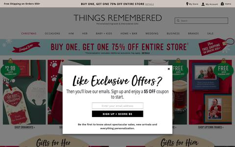 Screenshot of Home Page thingsremembered.com - Personalized Gifts from Things Remembered - captured Nov. 7, 2018