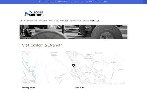 Screenshot of Privacy Page californiastrength.com - Contact — California Strength - captured July 10, 2016