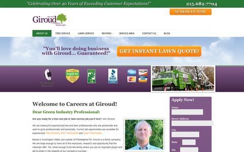 Screenshot of Jobs Page giroudtree.com - Careers | Giroud Tree and Lawn Service - captured Jan. 29, 2016