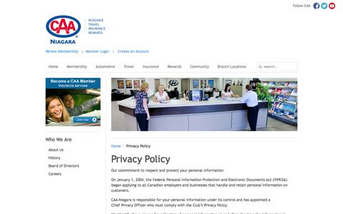 Screenshot of Privacy Page caaniagara.ca - Privacy Policy | CAA - captured Sept. 26, 2014