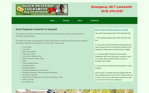 Screenshot of Services Page qrlocksmith.com - Services - Quick Respond Locksmith of Hayward - captured Nov. 16, 2016