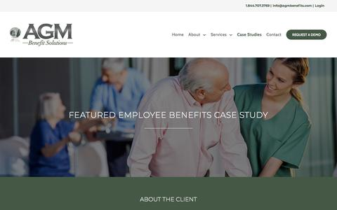 Screenshot of Case Studies Page agmbenefitsolutions.com - Featured Employee Enrollment Case Study - AGM - captured July 28, 2018