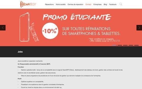 Screenshot of Jobs Page belwatech.be - Belwatech - Réparation iPhone iPad et smartphones | Jobs - captured Oct. 29, 2014