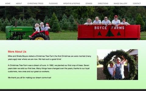 Screenshot of About Page boycefarms.com - More about Boyce Farms - Making Christmas Trees Affordable One Tree at a Time! - captured April 22, 2017