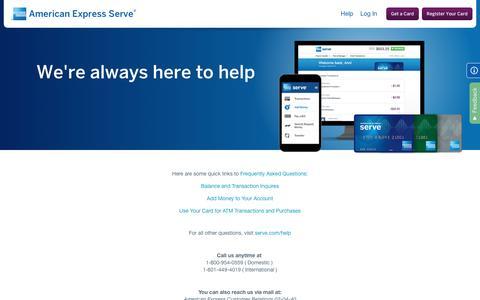 Screenshot of Contact Page americanexpress.com - Contact Us | American Express Serve® - captured Aug. 21, 2016