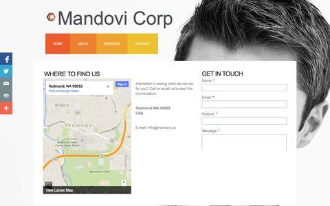 Screenshot of Contact Page mandovi.us - Contact - captured Oct. 4, 2014