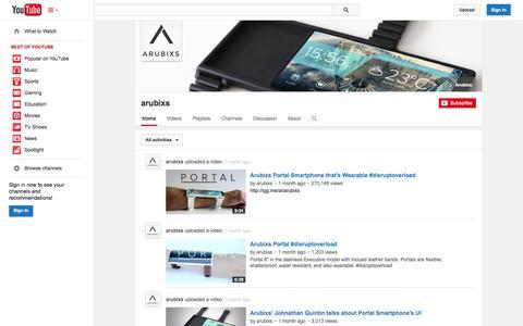 Screenshot of YouTube Page youtube.com - arubixs  - YouTube - captured Oct. 27, 2014