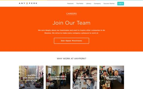 Screenshot of Jobs Page anyperk.com - Careers   AnyPerk - captured Oct. 1, 2015