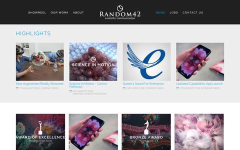 Screenshot of Press Page random42.com - News | Random42 | Medical Animation | Science in Motion - captured Sept. 22, 2018