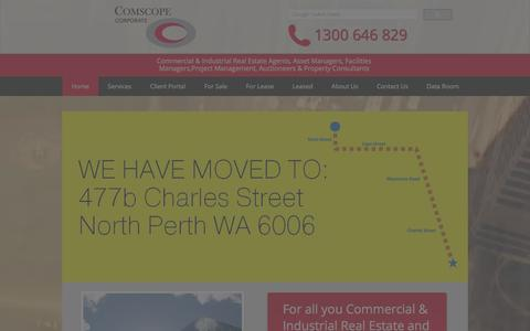 Screenshot of Home Page comscope.com.au - Comscope Corporate - Perth Commercial Industrial Real Estate Agents - captured Jan. 30, 2016