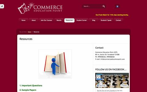 Screenshot of Services Page commerceeducationpoint.com - Resources «  Commerce Education Point - captured Jan. 30, 2016