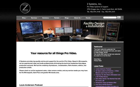 Screenshot of Home Page zsyst.com - Home - Z Systems, inc. - captured Oct. 6, 2014
