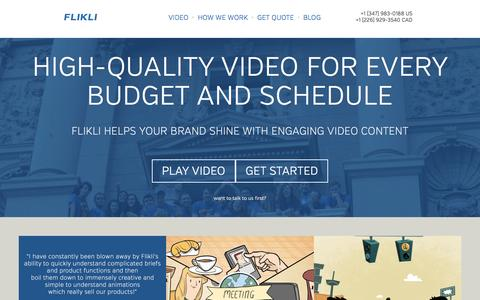 Screenshot of Home Page flikli.com - FLIKLI - A Video Content Studio - captured Jan. 8, 2016