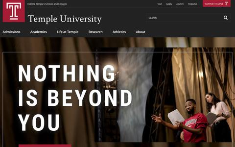 Screenshot of Home Page temple.edu - Temple University - captured March 21, 2019