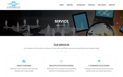 Screenshot of Services Page cyberbeams.com - Services : Website Designing, Web Application Development, Web Portal and E-Commerce Development, Domain Registration and Web Hosting, Trivandrum, Kerala - captured Sept. 19, 2017