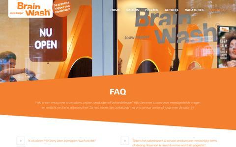 Screenshot of FAQ Page brainwash-kappers.nl - Brainwash Kappers |   FAQ - captured Jan. 7, 2016