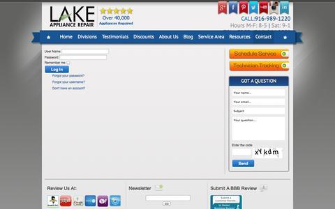 Screenshot of Login Page lakeappliancerepair.com - Log In - captured Sept. 27, 2014