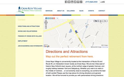 Screenshot of Maps & Directions Page crosskeysvillage.org - Directions and Attractions - Cross Keys Village - captured Oct. 3, 2014