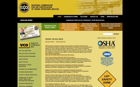 Screenshot of Home Page nccco.org - National Commission For The Certification of Crane Operators - NCCCO - captured Oct. 6, 2014