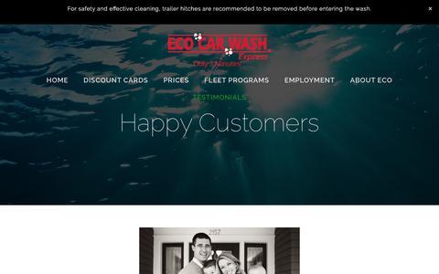 Screenshot of Testimonials Page ecocarwash.com - Happy Customers — Eco Car Wash - captured May 11, 2017