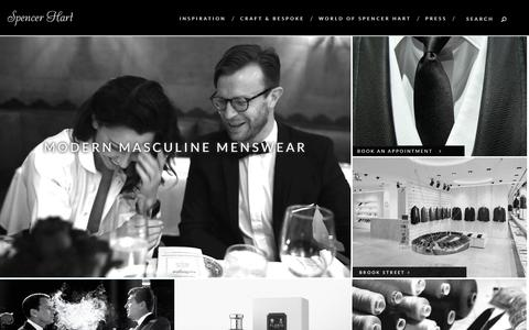 Screenshot of Home Page spencerhart.com - Savile Row Suits -Bespoke Menswear Tailoring | Spencer Hart Meta description: Spencer Hart is a world of craft, soul and tailoring. A bespoke alternative to the traditional Savile Row tailors. - captured Sept. 30, 2014