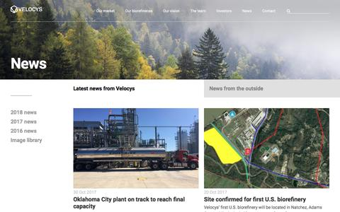 Screenshot of Press Page velocys.com - News | Velocys - captured Sept. 21, 2018