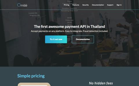 Screenshot of Home Page omise.co - Omise Payment Gateway - Thailand - captured Jan. 26, 2015