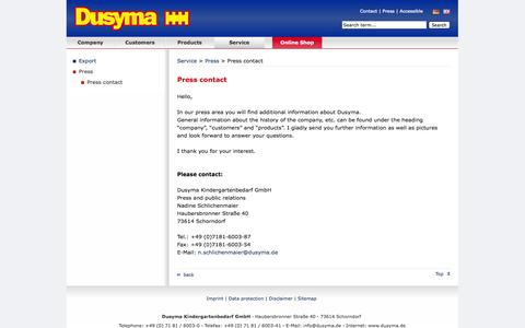 Screenshot of Press Page dusyma.de - Press contact - Dusyma Kindergartenbedarf GmbH - captured Oct. 30, 2014