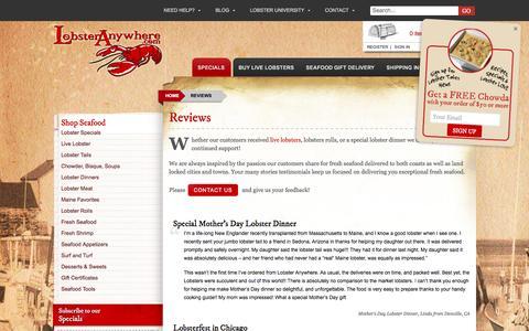 Screenshot of Testimonials Page lobsteranywhere.com - Reviews - Lobsteranywhere.com - captured Nov. 12, 2016