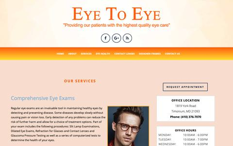 Screenshot of Services Page optical-timonium.com - Eye Exams in Timonium | Timonium Designer Frames | Contact Lenses near Towson - captured Sept. 30, 2018