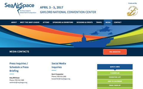 Screenshot of Press Page seaairspace.org - Media Contacts - Sea Air Space - captured Jan. 8, 2017