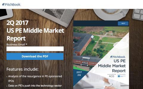 Screenshot of Landing Page pitchbook.com - PitchBook 2Q 2017 US PE Middle Market Report - captured Sept. 7, 2017