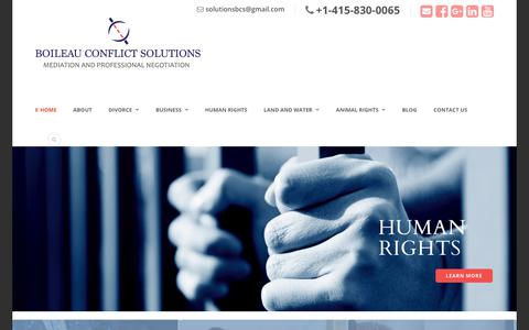 Screenshot of Home Page boileaucs.com - Private Mediators, National Mediation Service, Divorce Mediation, Human & Animal Rights, Land & Water Rights- Conflict Resolution - BCS - captured Oct. 10, 2017
