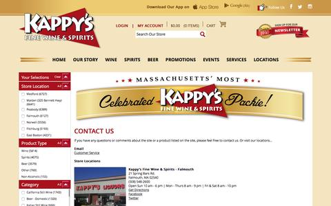 Screenshot of Contact Page Locations Page kappys.com - Kappys Fine Wine & Spirits Contact Us - captured April 26, 2017
