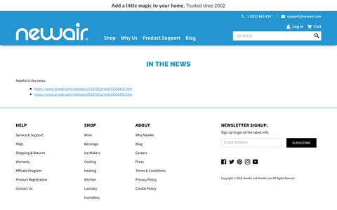 Screenshot of Press Page newair.com - In the News                      – NewAir - captured Sept. 21, 2018