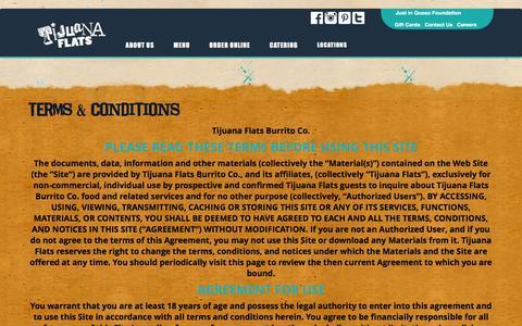 Screenshot of Terms Page tijuanaflats.com - Terms & Conditions - Tijuana Flats - captured Feb. 1, 2016