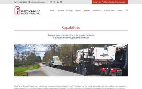 Screenshot of Services Page peckham.com - Capabilities | Peckham Industries, Inc. - captured Feb. 22, 2020