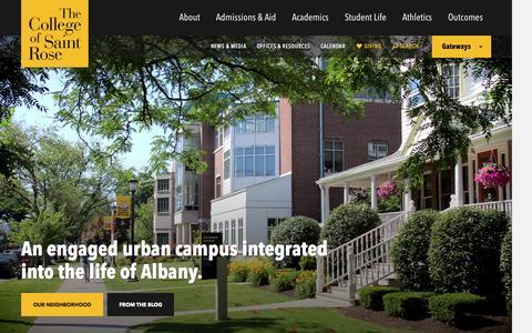 Screenshot of Home Page strose.edu - The College of Saint Rose - captured Nov. 22, 2015