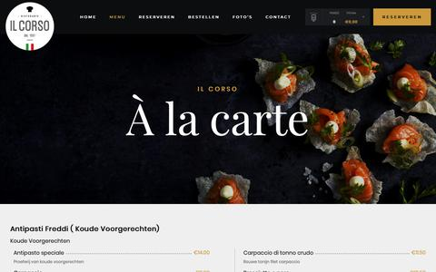 Screenshot of Menu Page ilcorso.nl - À la carte – Il Corso - captured Nov. 22, 2018