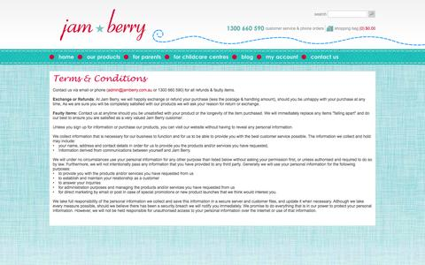Screenshot of Terms Page jamberry.com.au - Terms & Conditions | Jam Berry quality childcare products - captured Sept. 30, 2014
