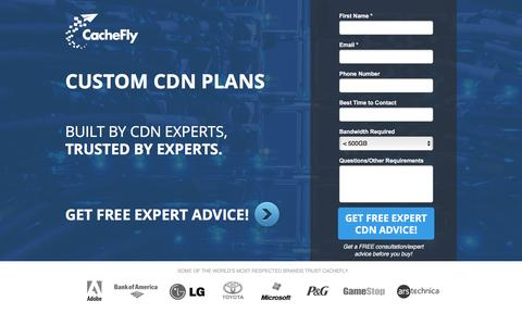 Screenshot of Landing Page cachefly.com - CDN Free Trial | Content Delivery Network | CacheFly - captured Nov. 11, 2016