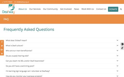 Screenshot of FAQ Page deafway.org.uk - Deafway | Deaf Charity Preston, North West | FAQ - captured Aug. 6, 2018