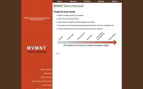Screenshot of Home Page mvmnt.com - MVMNT Creative Strategies - captured Nov. 13, 2019