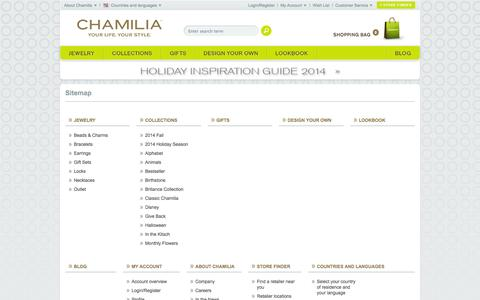 Screenshot of Site Map Page chamilia.com - Sitemap - Chamilia Online Shop - captured Nov. 1, 2014