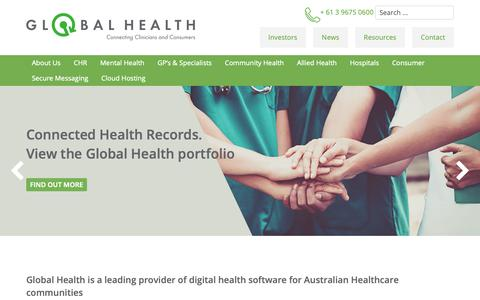 Screenshot of Home Page global-health.com - Global Health | Connecting Clinicians and Consumers - ASX:GLH - captured Sept. 28, 2018