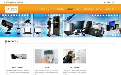 Screenshot of Products Page casalssecurity.com.au - Our Range of Security Services | Casals Security - captured July 17, 2017