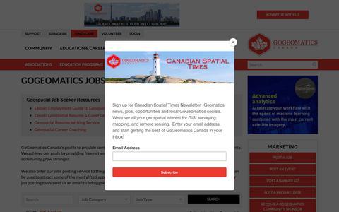 Screenshot of Jobs Page gogeomatics.ca - GIS, Geomatics, Geospatial, Remote Sensing, and geography jobs in Canada | GoGeomatics - captured July 21, 2018