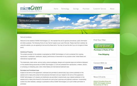 Screenshot of Terms Page microgreenfilter.com - Terms & Conditions - microGreen Oil Filters - captured Sept. 17, 2014