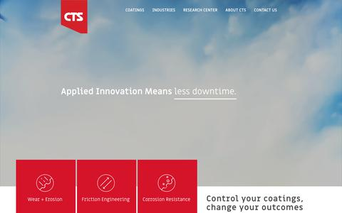 Screenshot of Home Page cts-inc.net - CTS, Inc. – Cincinnati Thermal Spray | Applied Innovation - captured March 20, 2018
